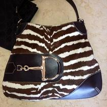 Gucci - White and Brown Pony Calf Zebra Horsebit Hobo Handbag Photo