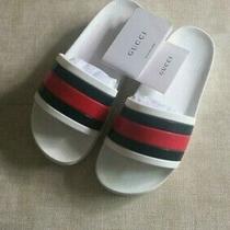 Gucci White Beach/pool Slides-Rubber Flip Flops/sandals/slippers Men's Eu41us8 Photo
