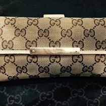 Gucci Womans Wallet Beige Monogram Used Authentic Photo