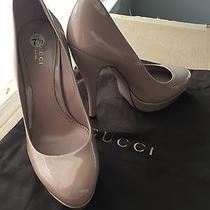 Gucci Women Nude Blush Pink Platform Patent Leather Pumps Mid Heel Size 37.5 Photo
