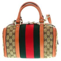 Gucci Women's   Boston Bag Small 269876 Fwczg 9772 Orange Trim W/web Photo