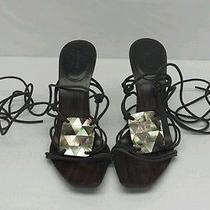 Gucci Women's Brown Leather Mother of Pearl Accent Lace Up Sandals Ankle Strap Photo