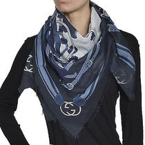 Gucci Women's Cotton Scarf 313312 4g101 42x42 Blue White 4069 Photo