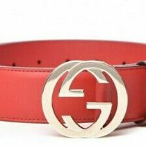 Gucci Women's Gg Red Leather Belt Sz 80 Nwt Retail 450 Authentic Photo