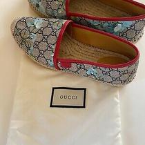 Gucci Women's Gg Supreme Canvas Blue Bloom Espadrilles Flats 40 (Us 10) Photo