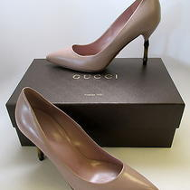 Gucci Women's Malaga Kid Dk Cipria Light Blush W/ Bamboo Heel Shoes Pumps Sz 37 Photo