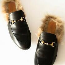 Gucci Women's Princetown Fur Lined Mule Black Leather Sz Eu 38 (Us 8 )  Photo