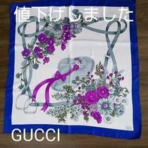 Gucci Women's Scarf Blue Silk Italy Made Logo Illustration Used Condition M510 Photo