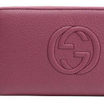 Gucci Women's Soho Leather Zip Around Wallet 291102 A7mog 5535 Dusty Rose Photo