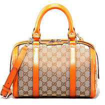 Gucci Women's Vintage Web Boston Bag Small 269876 F4cmg Orange Trim Photo