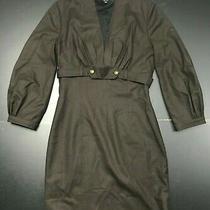 Gucci Womens Long Sleeve Chocolate Brown 100% Wool Dress Size 42 Photo