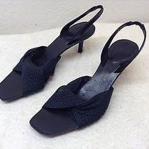 Gucci Womens Sz 8.5 B Sling Back Heel Sandals Black Fabric Italy Shoes Great F/s Photo