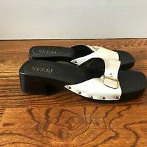 Gucci Wood Mule Slide Sandals Clogs Ivory White Patent Leather Black Heels 8.5m Photo