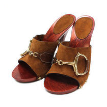 Gucci Wood Sandals 138494 Brown Wood X Suede X Leather 10056565 Photo