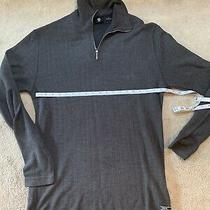 Guess 1/4 Zip Sweater Men's Med Long Sleeve Fitted Grey Photo