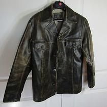 Guess 100% Leather Jacket Lined Straight Distressed Brown Coat Men's Size S Photo
