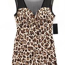 Guess 108 New 14039 Leopard Illusion Romper Womens Dress 4 Photo