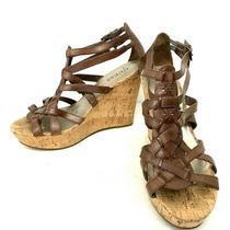 Guess 10m Brow Cork Platform Wedge Sandals Gladiator Huarache Platform Photo