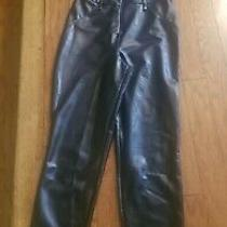 Guess 128 Womens New Black Faux Leather Sleeveless Skinny Jumpsuit Size 8  Photo