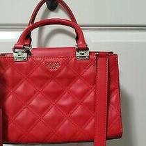 Guess 1981 Red Quilted Satchel Handbag Purse Crossbody Tote Shoulder Hand Bag  Photo