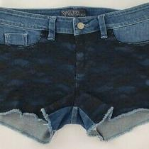 Guess 1981 Style High-Rise Distressed Fish Net Denim Shorts Med Rinse Size 29 Photo