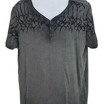 Guess 3 Button Mens Graphic T-Shirt Xl Faded Gray Black Henley Tee Gothic A25 Photo