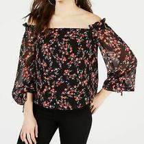 Guess 69 Womens New 0099 Black Floral Off Shoulder Peasant Casual Top M Bb Photo