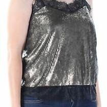 Guess 79 Womens New 1016 Gold Sequined Lace Queen Anne Neckline Top M Bb Photo