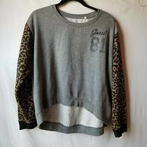 Guess 81 Cheetah Leopard Long Sleeves Pullover Sweater Gray Womens Size Xl Photo