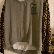Guess 81 Grey Sweatshirt Leopard Print Sleeves Size M Photo