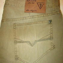 Guess Alfie Chino Twisted Leg Slim Mens Khaki Pant Size 36 X 33 New Distressed Photo