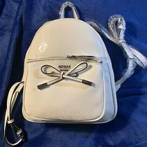 Guess All White Backpack Faux Leather Small Print Purse Photo