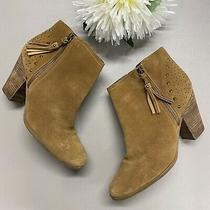 Guess Ankle Booties Studded Block Heel Side Tassel Zip Brown Suede Size 10 Photo