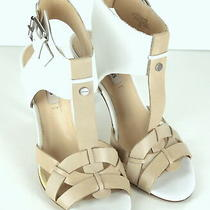 Guess Ankle Strap Heels Shoes Beige White Womens Clothing Fashion (7-m)  Photo
