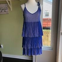 Guess Annette Pleated Tie Strap Tiered Pleated Dress Blue Women's S Photo
