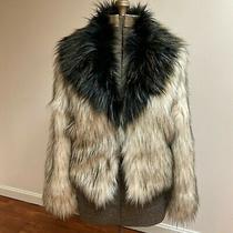 Guess Antique Ivory Color Faux Fur Coat Sz. M Nwt Photo