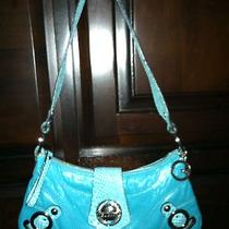 Guess Aqua Turquoise Blue Guess Handbag With Chrome  Small Mini Purse Photo