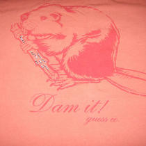 Guess Authentic Womens Tee Shirt or Top  Dam It Beaver  Size Medium  Cotton Photo