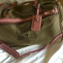 Guess Avignon Pre-Owned Rolling Duffel Luggage Pink and Beige Canvas Photo