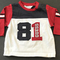 Guess Baby Boy Shirt Sz 3-6m  Red White and Blue 3/4  Long Sleeve Shirt in Euc Photo