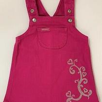 Guess Baby Girls Stretch Denim Jumper Dress Sz 12 Months Fuchsia Pink Glittered Photo