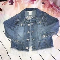 Guess Baby Guess Denim Jean Jacket 24 Mos Floral Embroidered Lace Hem Rare Cute Photo