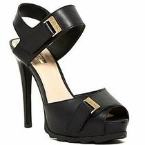 Guess Baina Strappy Gold Black Leather Platform Peep Toe Chunky Heel 7 37 Photo