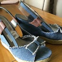 Guess Bashful Denim Blue Fabric Sandal Wedge Heel Size 9.5 Photo