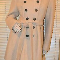 Guess Beige Curly Textured Wool Blend Belted Military Inspired Coat Size L Photo
