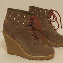 Guess Beige Suede Wedge Heel Booties Size 7.5m Photo