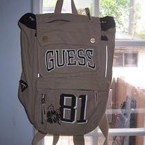 Guess Beige/tan Back Pack/bag Lots of Pockets Exc Shape Super Cool Photo