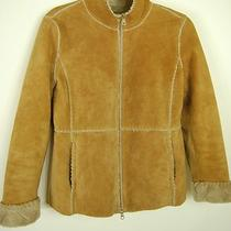 Guess Beige Tan Suede Leather Jacket Winter Coat Faux Fur Lined Whipstitched  S Photo