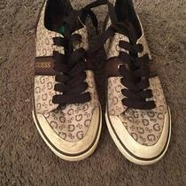 Guess Bernice Spellout Brown Beige Canvas Low Shoes Sneakers Womens Size 8 Photo