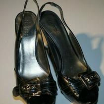 Guess Black 8.5 Platform Strappy Open Toe High Heels With Buckle and Skinny Heel Photo